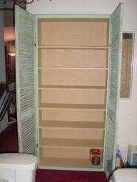 bookshelf plus home depot shutters = linen closet, pantry, craft organizer ....  Image Source