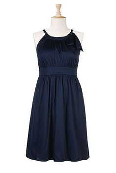 I love the midnight blue and the sweet neckline on this dress. Plus-size and customizable.