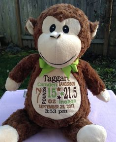 Personalized Baby Gift Monogrammed Monkey Birth Announcement  PERSONALIZED by World Class Embroidery