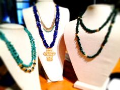 New this week! Jade, lapis & emerald necklaces.