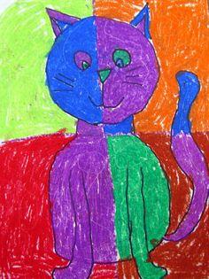 Colorful cat oil pastel