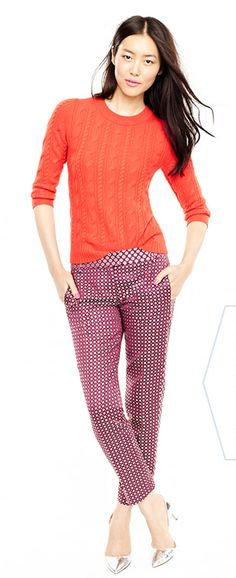 Love me some cropped, patterned pants - JCrew