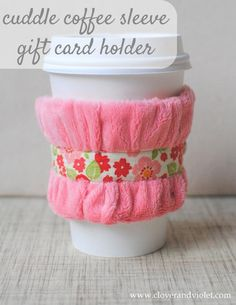DIY cuddle coffee sleeve gift card holder