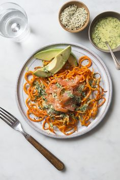 Roasted Carrot Noodles with Creamy Herb Dressing