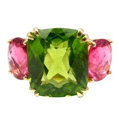 SEAMAN SCHEPPS Peridot Hot Pink Tourmaline Three Stone Gold Ring  VERY PRETTY....PERIDOT IS THE BIRTHSTONE FOR AUGUST!!