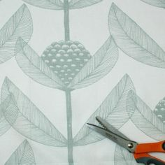 scandinavian design fabric | Björnbärsblomma Grey Green Swedish Fabric