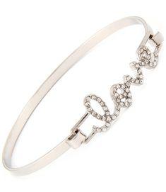 Cursive Love Hook Bangle Bracelet (Silver Tone) - $16