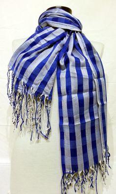 Sax Blue and White Men's and Women's Scarf  Sax Blue by PeraTime #handmadeatamazon #nazodesign