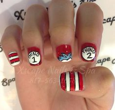 Thing 1, Thing 2 nail design... I would probably add another blue haired finger instead of having 2 striped fingers.