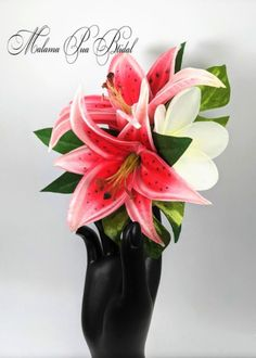 This Wedding Headpiece features Spectacular Double Real Touch STARBURST lilies and Hawaiian plumeria . A beautiful custom hair accessory perfect for wedding, cruise, prom, bridal or any special occasion. So Feminine and Graceful, and soft to Touch. Made from Premium PU material which feels and looks completely real. Enhanced with tropical leaves for a full exotic look. Plumeria has hand wired (not hot glued) Swarovski crystal center. Bridal Hair Flowers, Flower Headpiece, Silk Flowers, Fascinator, Tropical Leaves, Tropical Flowers, Flowers For You, Pink Lily, Hair Accessory