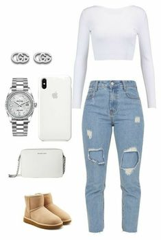Ideas stylebook mode outfits, crop top outfits, outfits for teens, ch Cute Swag Outfits, Chill Outfits, Crop Top Outfits, Dope Outfits, Jean Outfits, Trendy Outfits, White Crop Top Outfit, White Girl Outfits, Summer Outfits