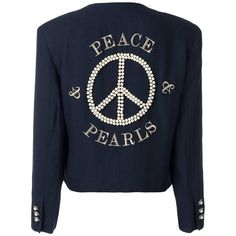 Preowned 1989 Moschino Couture Vintage Peace & Pearls Embroidered... ($2,005) ❤ liked on Polyvore featuring outerwear, jackets, black, collarless jackets, embroidered jacket, moschino, long sleeve crop jacket and embroidery jackets