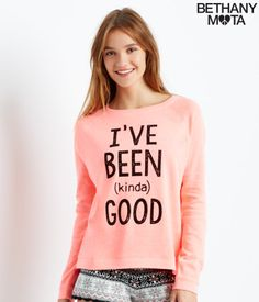 """If the message on my Kinda Good Slouchy Raglan Sweatshirt doesn't get through to Santa, at least it'll give my friends a big laugh! But seriously, this is the coziest top for lounging around on chilly days, and the neon color is so vibrant. Laters, xoxo Beth<br><br>Relaxed fit. Approx. length: 26""""<br>Style: 3924. Imported.<br><br>60% cotton, 40% polyester.<br>Machine wash/dry.<br><br>Model height: 5'9.5""""; Size: Small."""