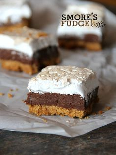 Smores Fudge Bars. They're a thick graham cracker crust, with milk chocolate fudge center and homemade marshmallow fluff.