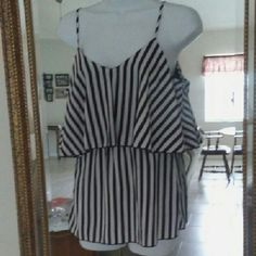 Stripes charlotte russe spaghetti tank This is such a cute black and off white stripes tank with a v-neck front and back with a ruffle look. The straps are adjustable. Charlotte Russe Tops Tank Tops
