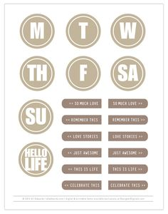 Free day of the week circles and sentiments Printable for Project Life