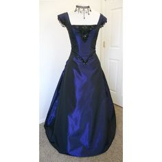 Victorian Gothic Bustled Prom dress ball gown ($495) ❤ liked on Polyvore featuring dresses, gowns, two piece dresses, blue dress, 2 piece prom dresses, blue evening gown and gothic gowns