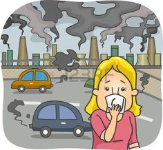 Illustration of Illustration Featuring a Woman in a Polluted City Covering Her Nose vector art, clipart and stock vectors. Poster On Pollution, Air Pollution Project, Drawing For Kids, Art For Kids, Image Clipart, Poster Pictures, Car Drawings, Banner Printing, Vector Art