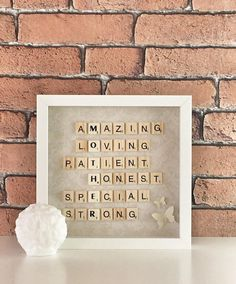 Mothers day frame,mothers day gift,Scrabble frame, birthday gift for mom, wall art, birthday present, scrabble wall art, bulk scrabble tiles