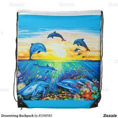 Drawstring Backpack #alanjporterart #kompas #originaldesign #beautiful #beauty #animals #dolphins #snow #bag #fish #sea #love #message #zazzle #beautifulpicture #sunset #product #sky #girl #boy