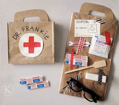 Sick Day Learning and Play, make a dr kit from paper bags and first aid supplies. cute.