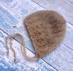 Beige Newborn Bonnet, Newborn Baby Bonnet, Gender Neutral Hat, Beige Bonnet, Hand Knitted Bonnet, Newborn Boy Hat, Beige Mohair Bonnet - pinned by pin4etsy.com