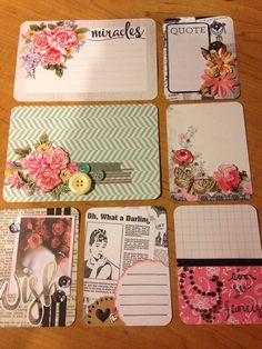Handmade project life card set. Good for PL, scrapbooks, smash books, or planner! Project Life Layouts, Project Life Cards, Scrapbook Albums, Scrapbook Layouts, Collage, Pocket Scrapbooking, Pocket Letters, A Day In Life, Handmade Journals