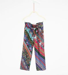 Printed trousers with a tie waist-LEGGINGS AND TROUSERS-GIRL | 4-14 years-KIDS | ZARA United States