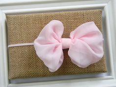 Light Pink Chiffon Bow Headband Baby Headband by Avabowtiquee, $6.95