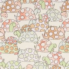 yellow turtle animal fabric Timeless Treasures  1
