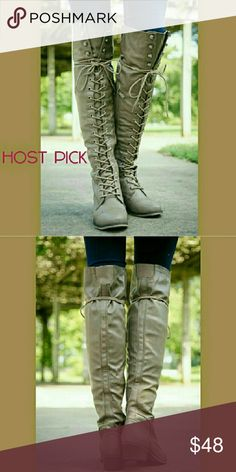 👢BEIGE KNEE HIGH LACE UP BOOTS👢-📦NIB📦 👢Lace-up boots with zipper on the sides for easy on and off 👢Rubber Soul and comfy foot bed 👢14 inch calf with elastic bands  at the top of the boots for movement 🌟🌟🌟Price is firm🙌👍💖🙏👢👌😘❤✌ BOTIQUE Shoes Lace Up Boots