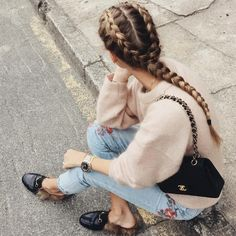 Two dutch braids into one braid. This is such a simple hair style once you learn how to dutch braid and it looks so pretty!