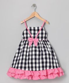 Navy & Pink Gingham Ruffle Dress by Gidget Loves Milo on #zulilyUK today!