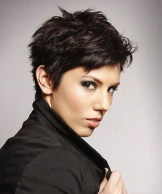 """Speaking of """"choppy"""", something else that you might want to consider doing is going with a choppy pixie cut. Although it would be cute on anyone, our personal favorite is on hair that already has a loose wave pattern."""