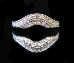Diamond Ring Enhancer White Gold cts - Click Image to Close Large Engagement Rings, Matching Wedding Rings, Band Engagement Ring, Matching Rings, Wedding Sets, Wedding Bands, Ring Enhancer, Ring Guard, Titanium Wedding Rings