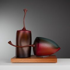 Nick Mount, Damaged Red Can & Fruit #061115, 2015, blown glass, surface worked, Red Gumstems, Blackwood base, H 62 x W 62 x D 30cm