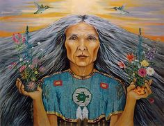One of 4 portraits of ancient Native American spirit guides of the directions – this is the East – the guide of growth and introspection. By Linda Apple