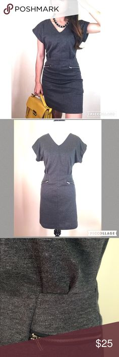 """Edgy gray zippered dress This edgy gray dress by Urban Rose is quite comfortable. Two faux zippers in the front and an exposed back zipper. The fabric is thick so no lining is needed. There's a tiny bit of a kimono cut to the sleeve.  Size S, waist is 14"""" across, length is 34"""" long. Barely worn and in excellent like-new condition. ❌trade  bundle discount ✍make an offer❣ Urban Rose Dresses"""