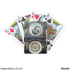 Prague Orloj Bicycle Playing Cards Prague Astronomical Clock, Bicycle Playing Cards, King Of Hearts, Table Games, Black Heart, Green Fashion, Business Supplies, Card Sizes, Poker