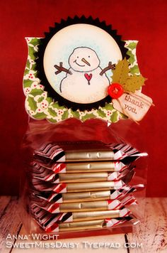 Anna Wight: Treat Topper for Humans!  Shinhan markers, Inky Antics Snowman, Stampin' Up! sentiment, October Afternoon DP