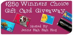 Don't miss your chance to #win the $250 Winners Choice #Giveaway on Jenns Blah Blah Blog! Starts 11/8/13 and ends 12/10/13!  Good Luck #sweepstakes #contests