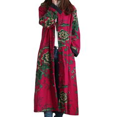 2016 Hot Selling Winter Women Fashion Vintage Embroidery Flowers Trench Coats Female Single Breasted Linen Cotton Coats
