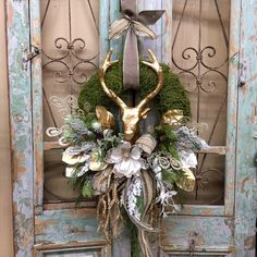 Excited to share this item from my shop: Reindeer Wreath, Christmas Wreath, Christmas Door Decor French Christmas Tree, French Country Christmas, Western Christmas, Country Christmas Decorations, Christmas Door Decorations, Holiday Wreaths, Holiday Decor, Antler Decorations, Diy Christmas