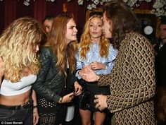Alice Dellal, Cara Delevingne, Clara Paget and Harry Styles caught up at the party earlier...