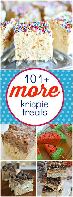 101 More Rice Krispies Treats Cereal Treats, No Bake Treats, Yummy Treats, Sweet Treats, Rice Crispy Treats, Krispie Treats, Rice Krispies, Rice Crispy Cake, Rice Krispie Bars