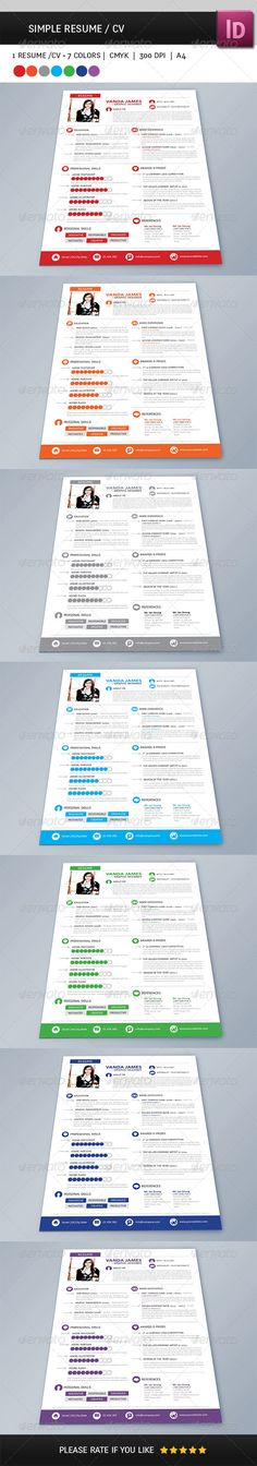 Resume Template-V011 Stationery templates, Cv template and Resume cv - resume template indesign