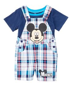Look at this #zulilyfind! Blue Plaid Mickey Mouse Overalls & Tee - Infant & Kids by Children's Apparel Network #zulilyfinds