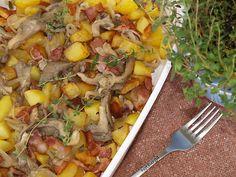 Potato Recipes, Paella, Feta, Bacon, Pizza, Potatoes, Chicken, Ethnic Recipes, Cooking