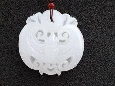 Chinese jade hand-carved Ruyi bat pendant