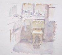 Nassau Odijckstraat, keuken van de kunstenaar Ad Kroese; vervaardiger: Kroese, 1994 penseel in kleur